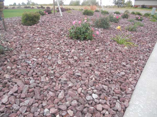 Montana red rock landscape wolverine rock and mulch for Small red rocks for landscaping